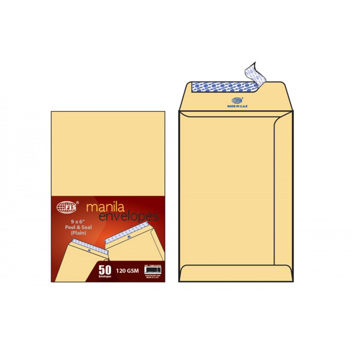 FIS 120 gsm Manila Envelope 9 x 6 in FSME1032P50 - Brown (pkt/50pcs)