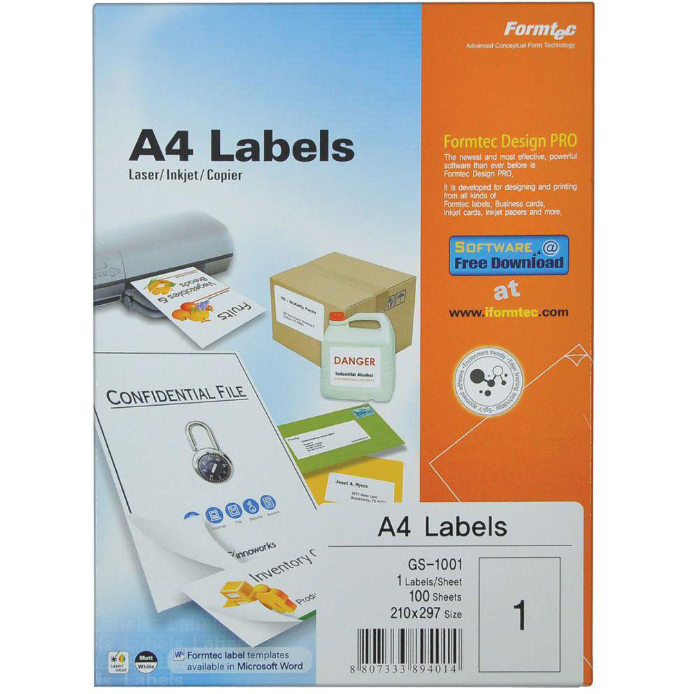 Formtec GS-1001 A4 Label (pkt/100s)