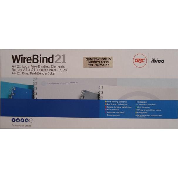 GBC IB165122 Binding Wire 2:1 21-Holes A4 8mm - Black (box/100pcs)