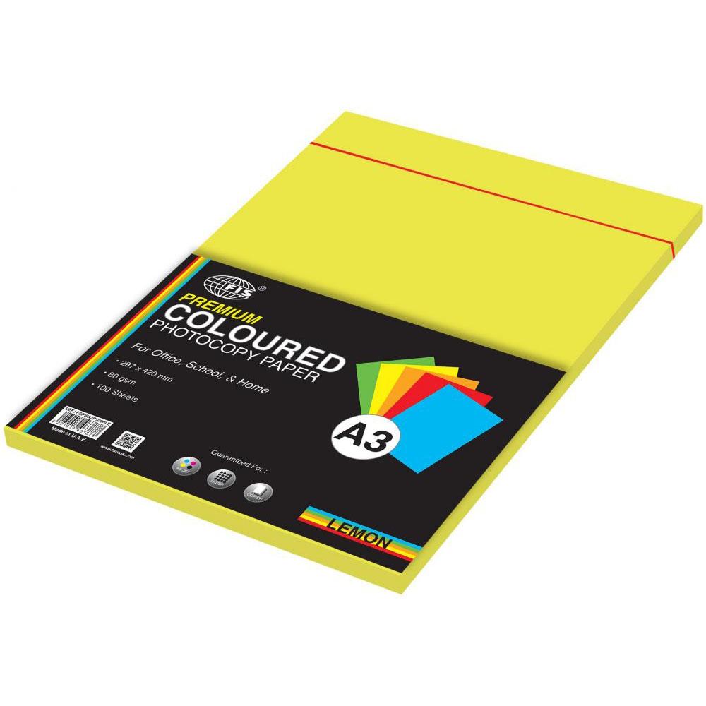 FIS Premium Color Photocopy Paper 80gsm A3 FSPWA3P100PLE - Lemon (pkt/100s)
