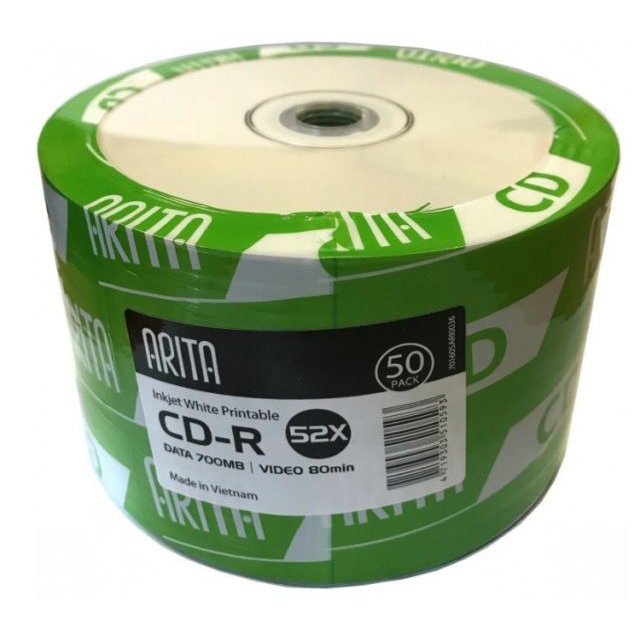 Arita Inkjet Printable CD-R 52X - 700MB (pkt/50pcs)