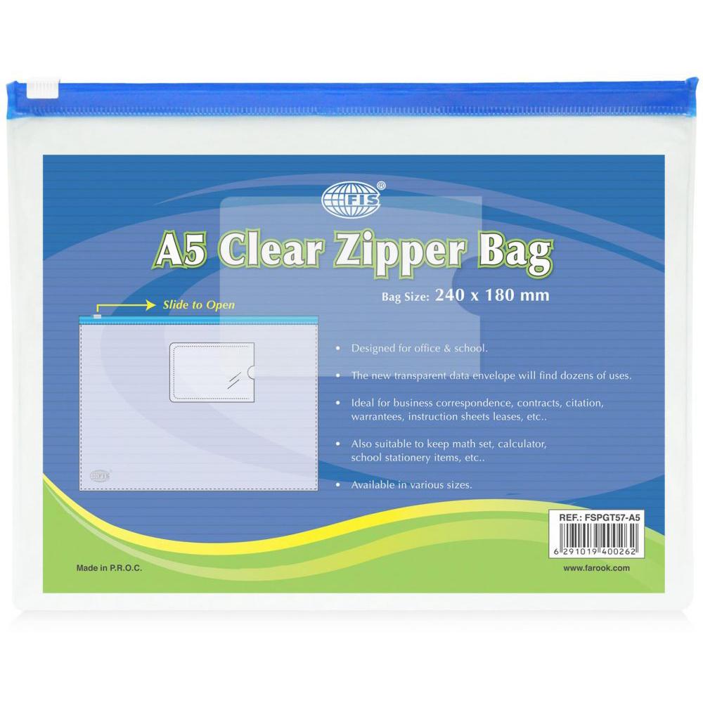 FIS Zipper Bags A5 FSPGT57 - Clear (pc)