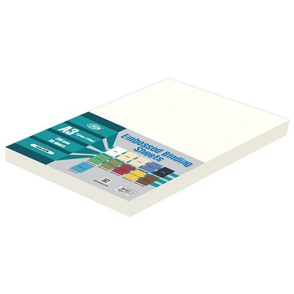 FIS Embossed Binding Sheet A3 230 gsm FSBDE230A3WH - White (pkt/50s)