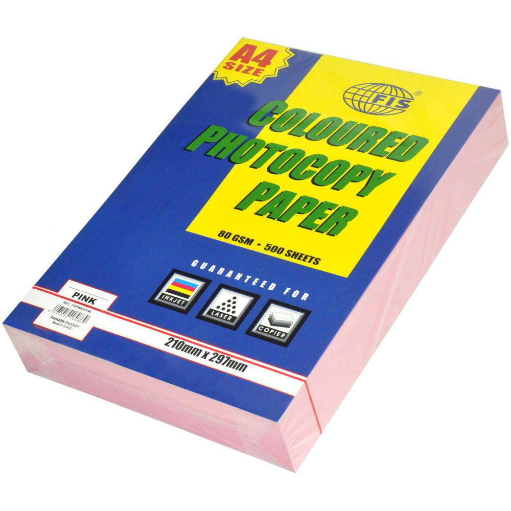 FIS Pastel Color Photocopy Paper A4 80gsm FSPWA4PINE - Pastel Pink (pkt/500s)