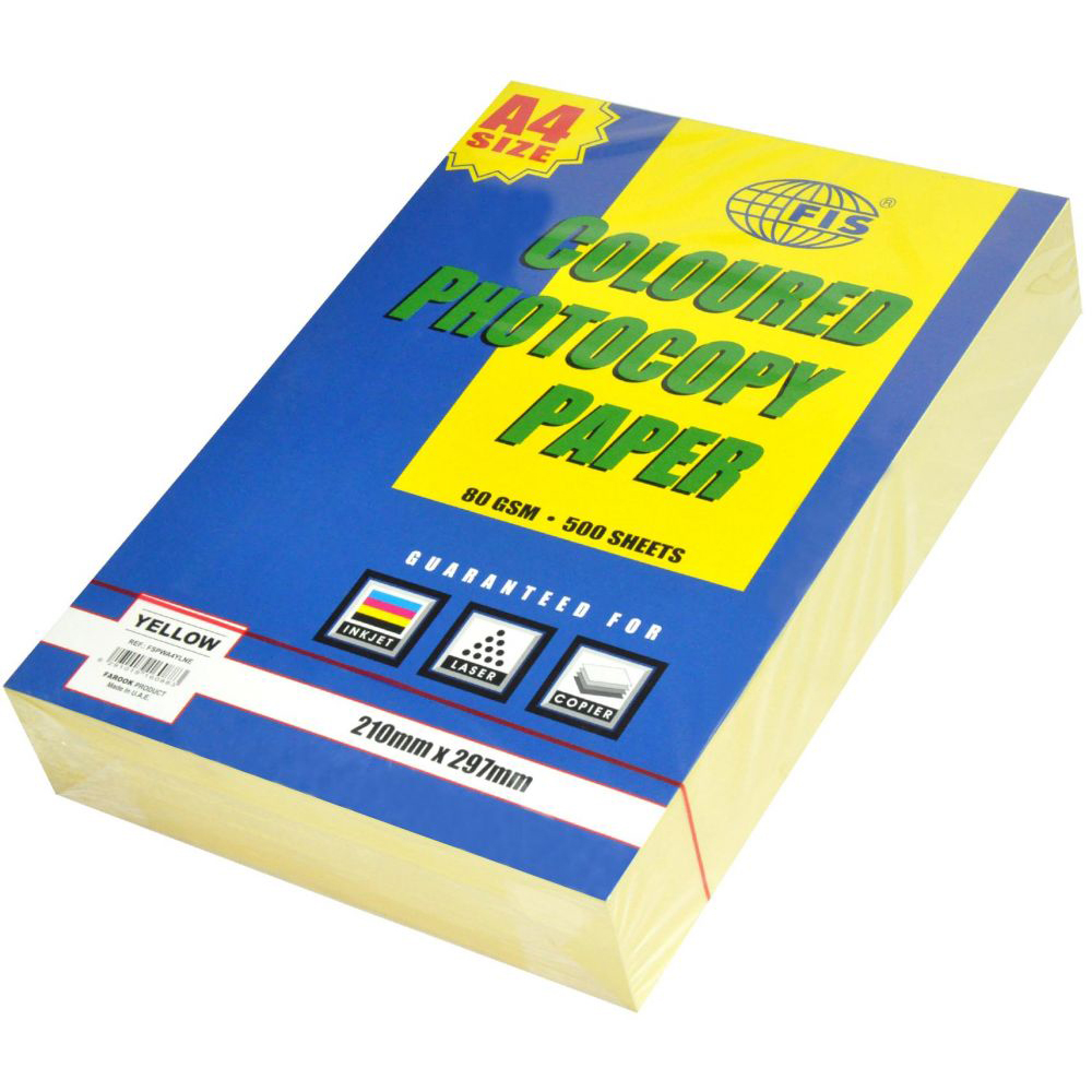FIS Pastel Color Photocopy Paper A4 80gsm FSPWA4YLNE - Pastel Yellow (pkt/500s)