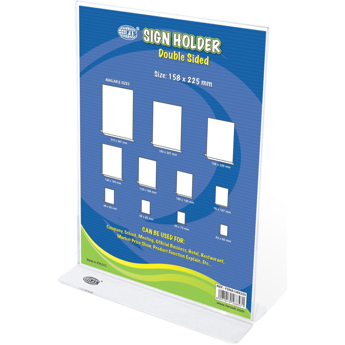 FIS Sign Holders Vertical Double Sided Upright 158 x 225mm FSNA158X225 - Clear (pc)
