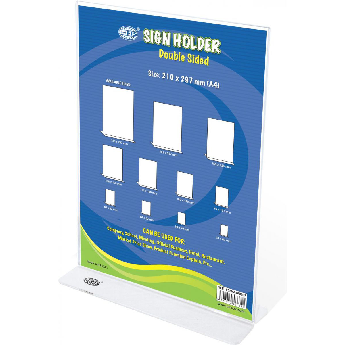 FIS Sign Holders Vertical Double Sided Upright 210 x 297mm FSNA210X297 - Clear (pc)