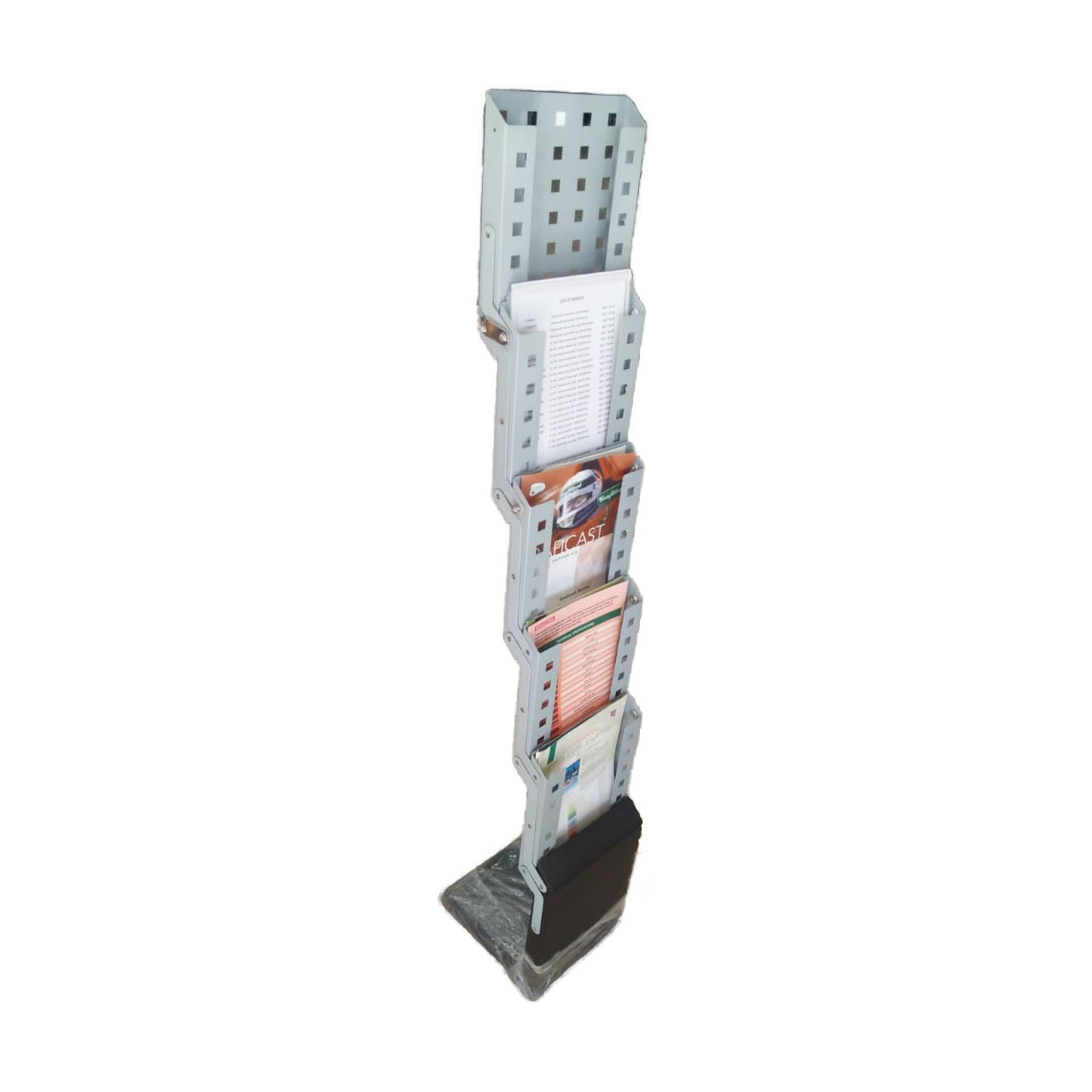 5-layer Foldable Metal Brochure Stand - Grey (pc)