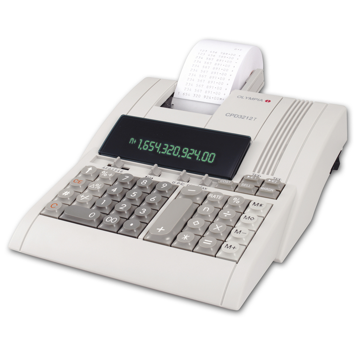 Olympia CPD 3212T Electronic Desktop Calculator - White
