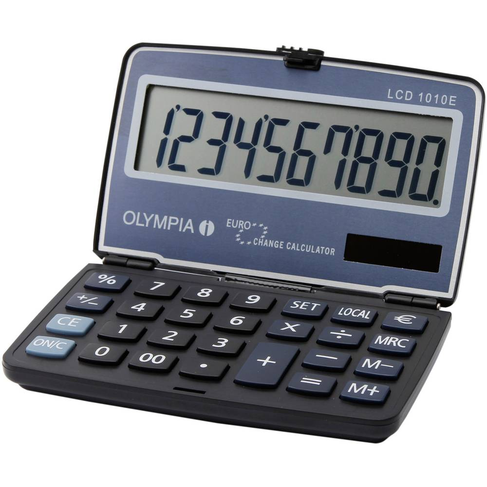 Olympia LCD 1010 E 10-Digit Pocket Calculator - Steel Blue