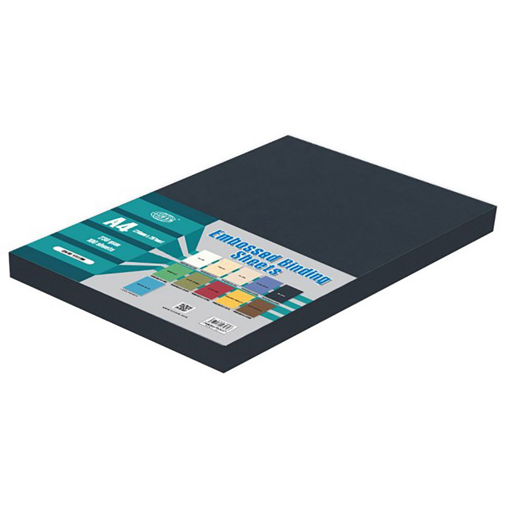 FIS Embossed Binding Sheet A4 230g FSBDE230A4BK - Black (pkt/100pcs)