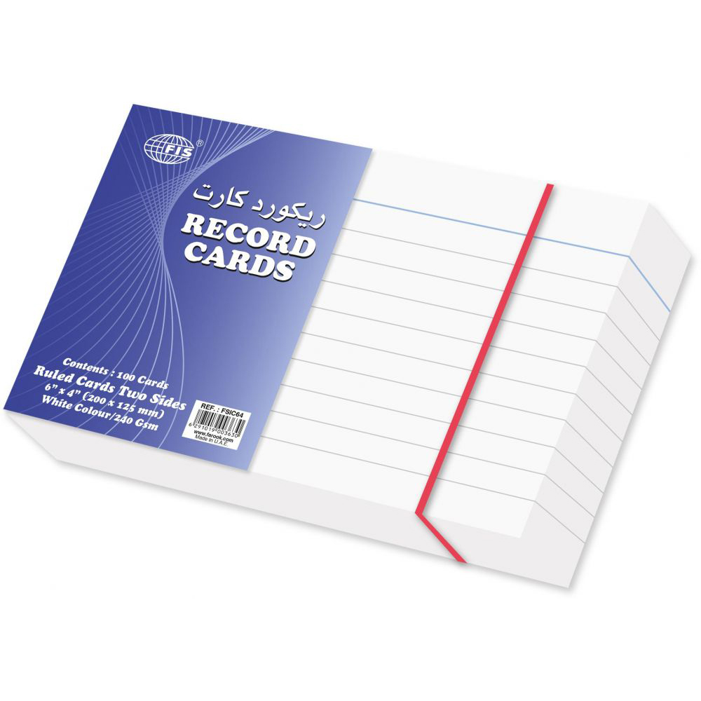 FIS Index Ruled Record Card 240gsm 6 x 4in FSIC64 - White (pkt/100pcs)