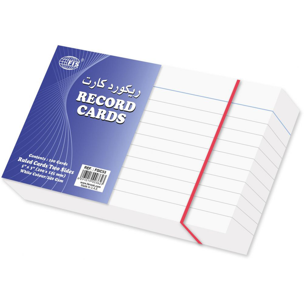FIS Index Ruled Record Card 240gsm 5 x 3in FSIC53 - White (pkt/100pcs)