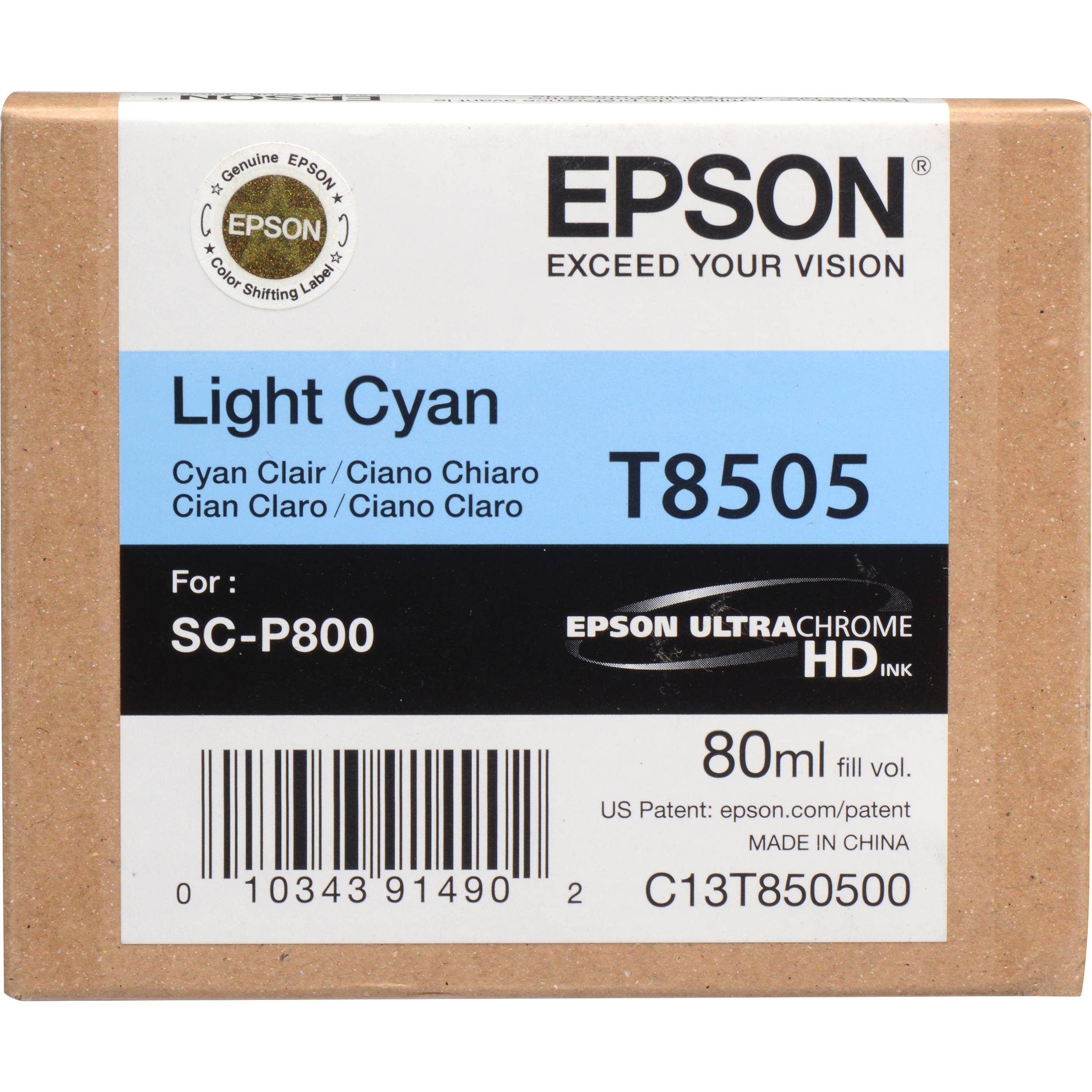 Epson T850500 Ink Cartridge - Light Cyan