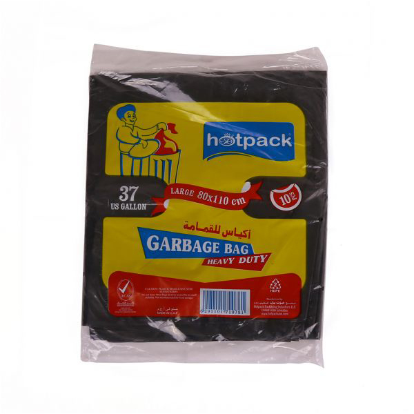Hotpack Heavy Duty Garbage Bag 55 gallon 80 x 110 cm - Black (pkt/10pcs)