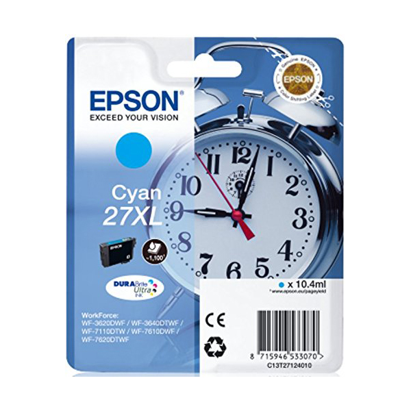Epson Alarm Clock No.27 XL High Capacity Ink Cartridge - Cyan