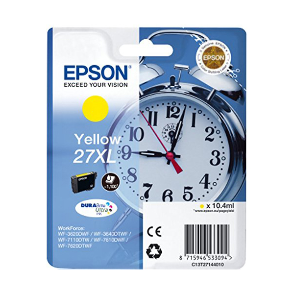 Epson Alarm Clock No.27 XL High Capacity Ink Cartridge - Yellow