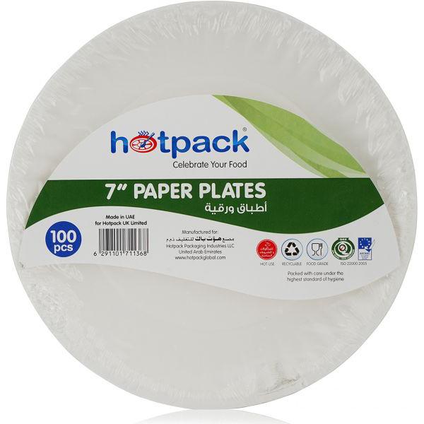 Hotpack Paper Plate - 7in (pkt/100pcs)