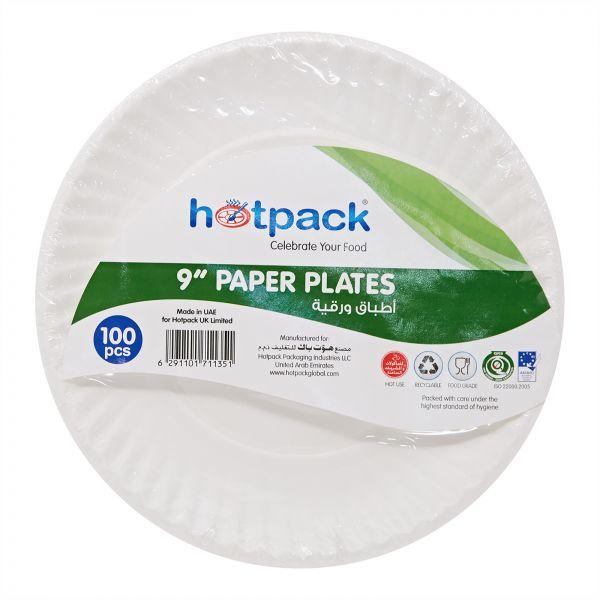 Hotpack Paper Plate - 9in (pkt/100pcs)
