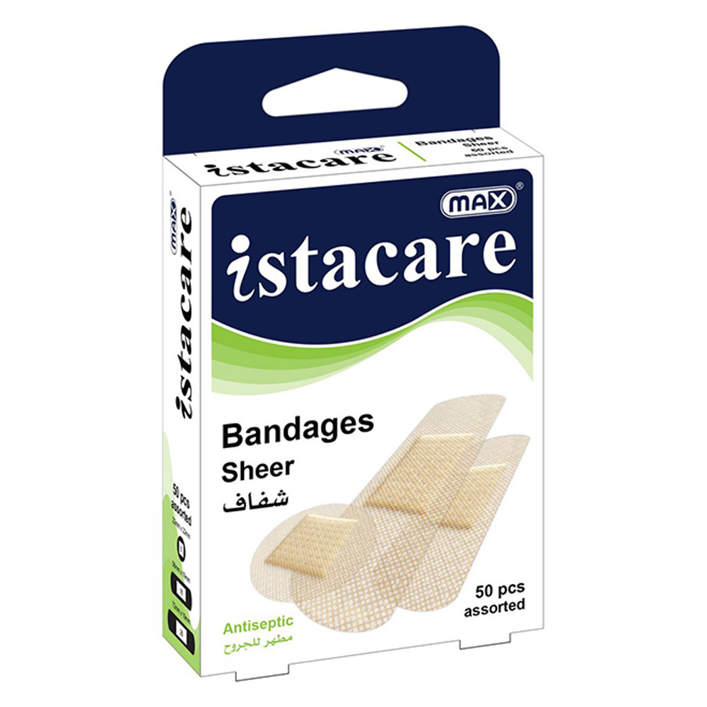Max Istacare Bandages Assorted Sizes - Sheer (box/50pcs)