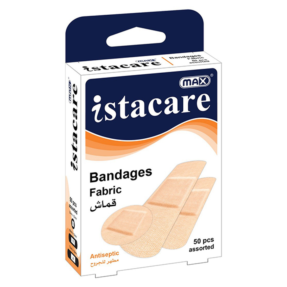 Max Istacare Bandages Assorted Sizes - Fabric (box/50pcs)