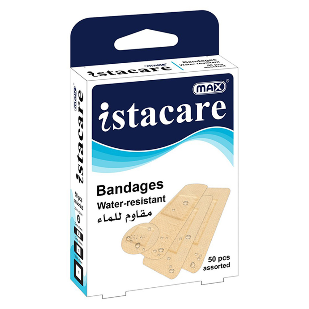 Max Istacare Bandages Assorted Sizes - Water-Resistant (box/50pcs)