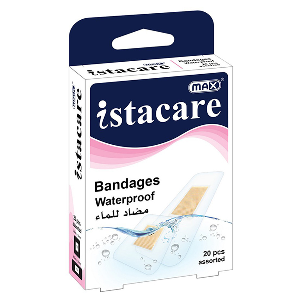 Max Istacare Bandages Assorted Sizes - Waterproof (box/20pcs)