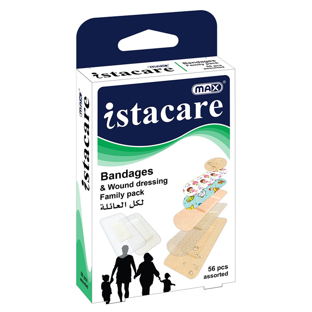 Max Istacare Family Pack Assorted Bandages + Dressing (box/56pcs)