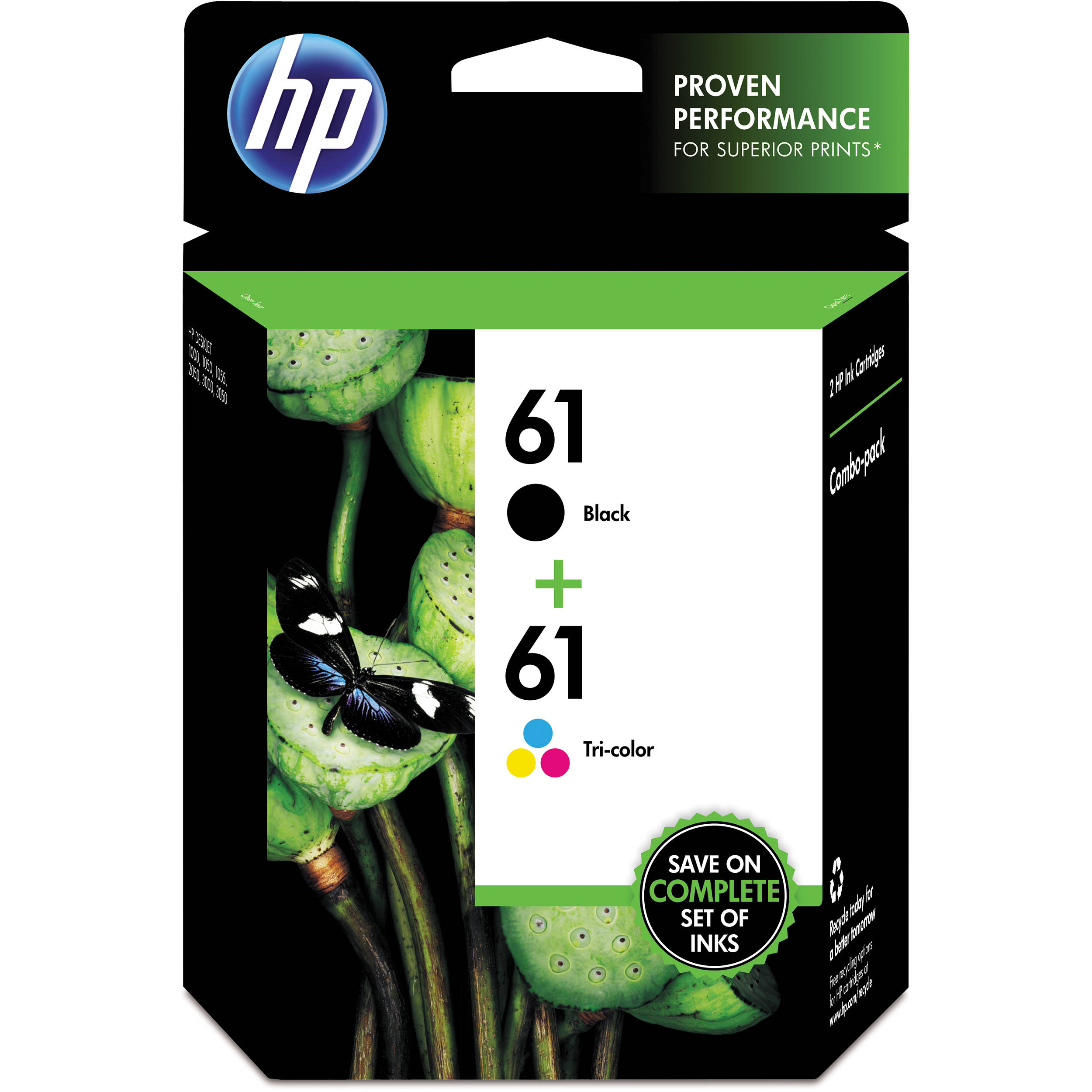 HP 61 Ink Cartridge Combo Pack - Black/Tri-Color