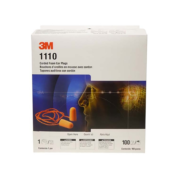 3M 1110 UF Foam Ear Plug with Cord (pkt/100pairs)