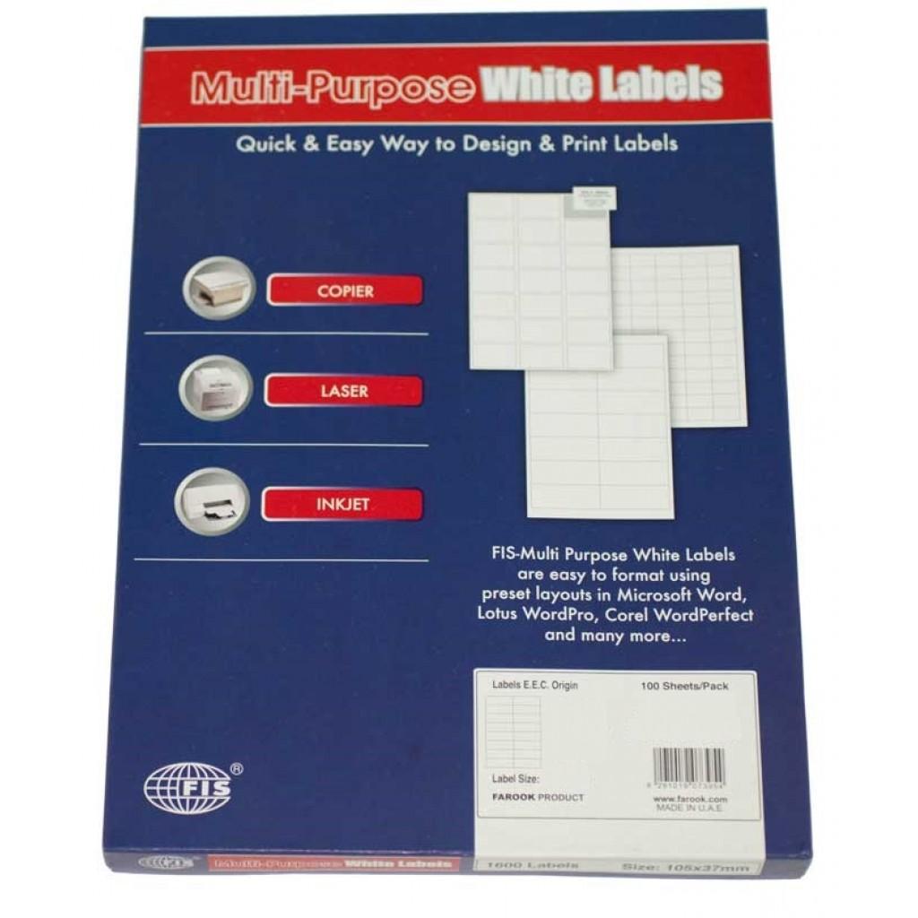 FIS Multipurpose White Label 89 x 47mm - FSLA10-3-100 (pkt/100s)