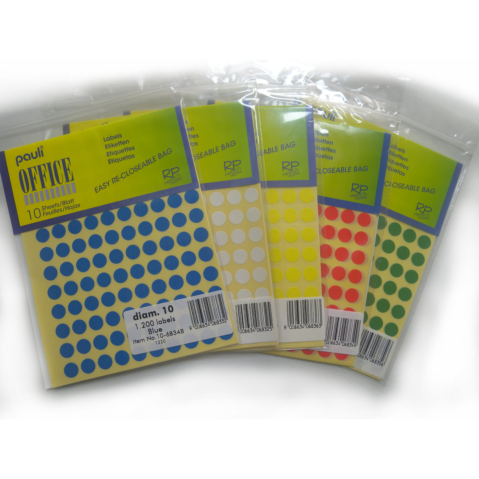 Pauli Office Round Labels 10mm - Yellow (pkt/10s)