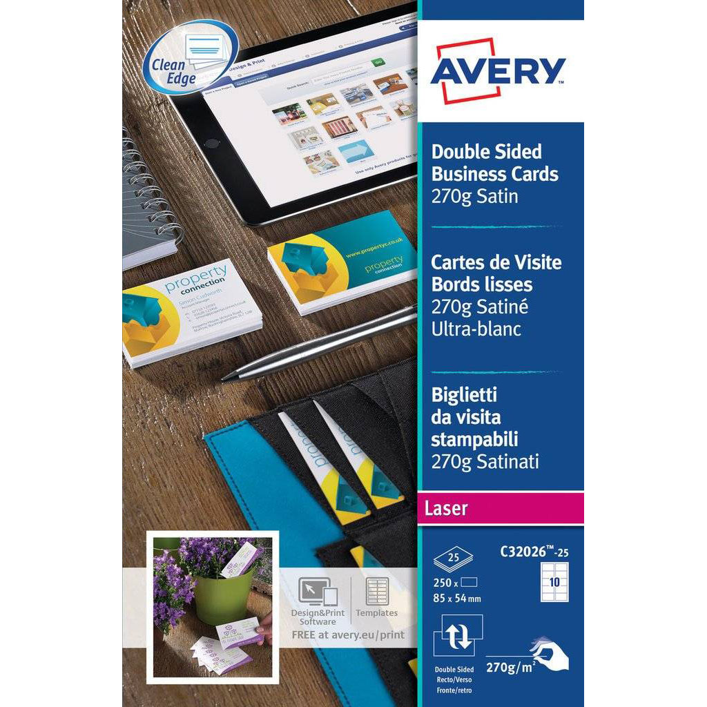 Avery C32026-25 Business Card 10 Labels 220gsm 85 x 54mm - White (pkt/25s)