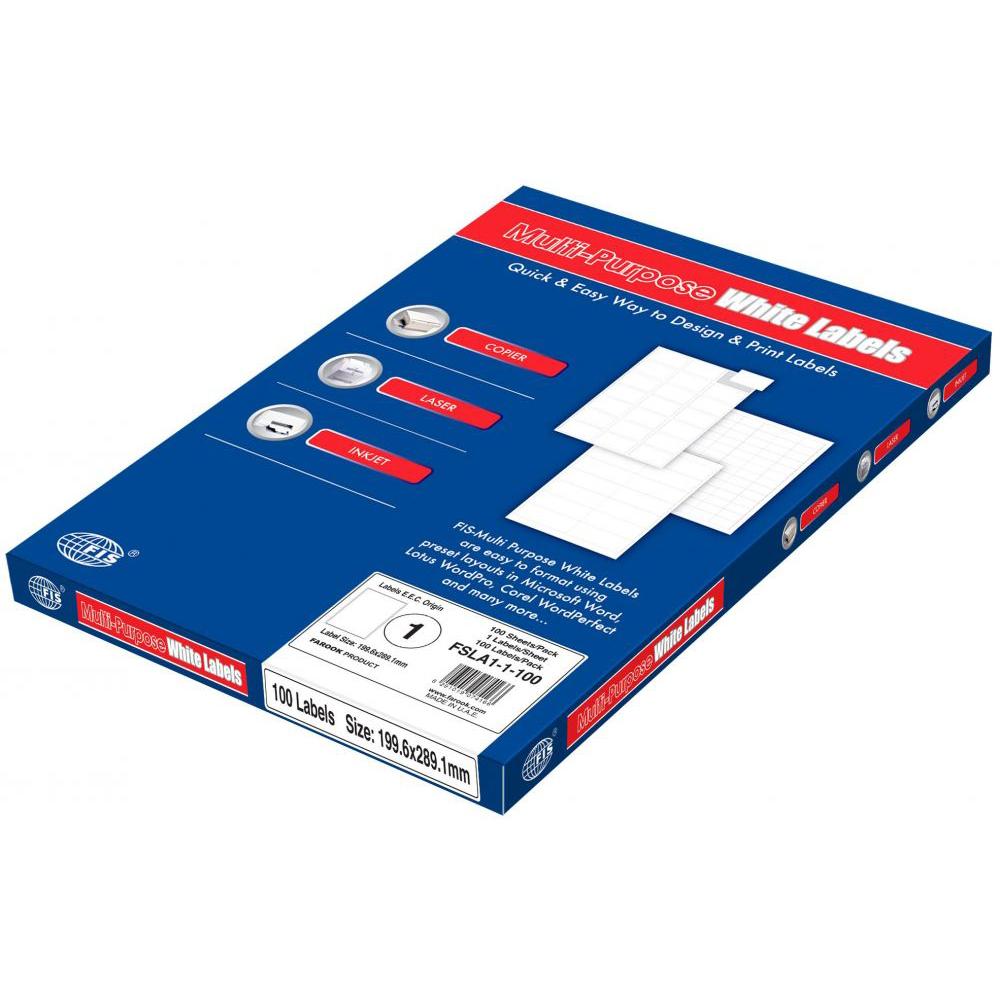 FIS Multipurpose Label Sticker 199.6 x 289.1mm A4 White - FSLA1-1-100 (pkt/100s)