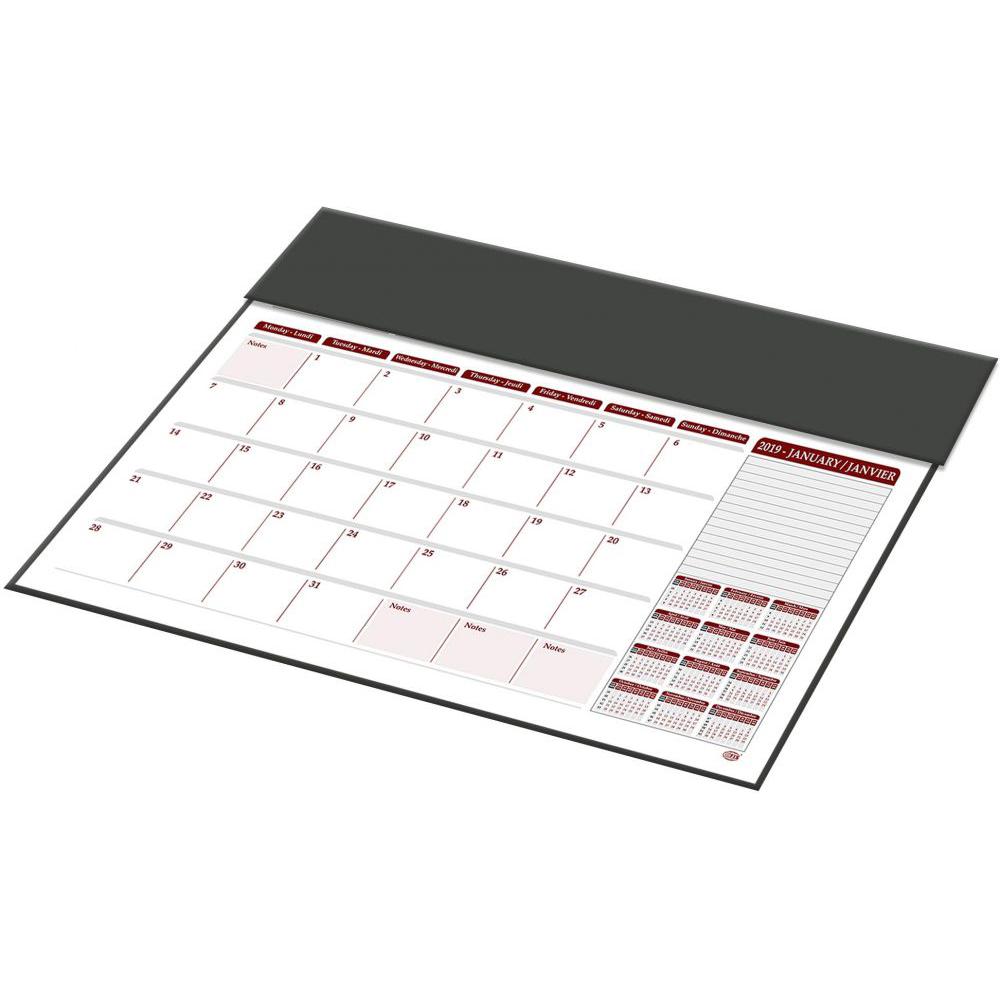 FIS 2019 Year Planner with PVC Desk Blotter (English/French) 490 x 340mm FSDK2EF19BK - Black (pc)