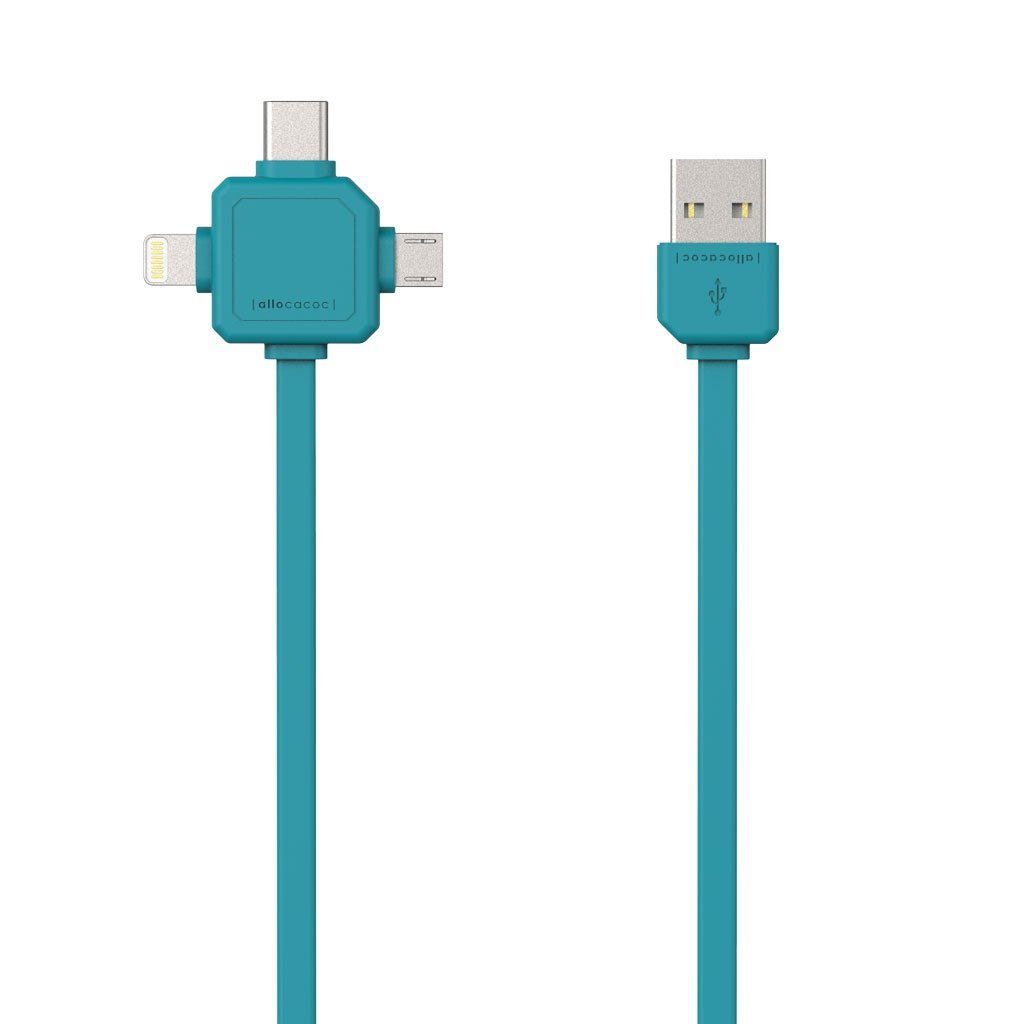 Allocacoc 9003BL USB Cable 3-in-1 (Usb-C/Micro/Lightning) - Blue (pc)