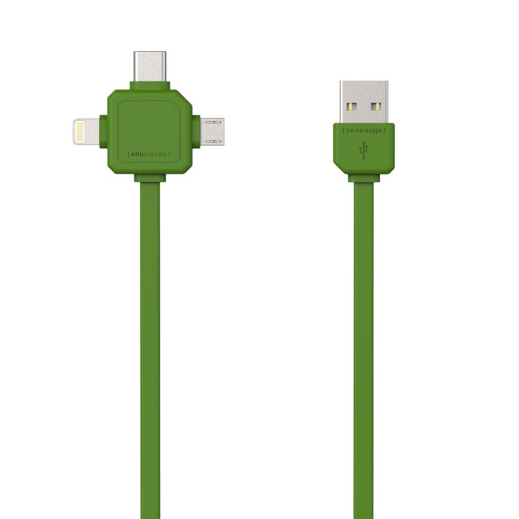Allocacoc 9003GN USB Cable 3-in-1 (Usb-C/Micro/Lightning) - Green (pc)