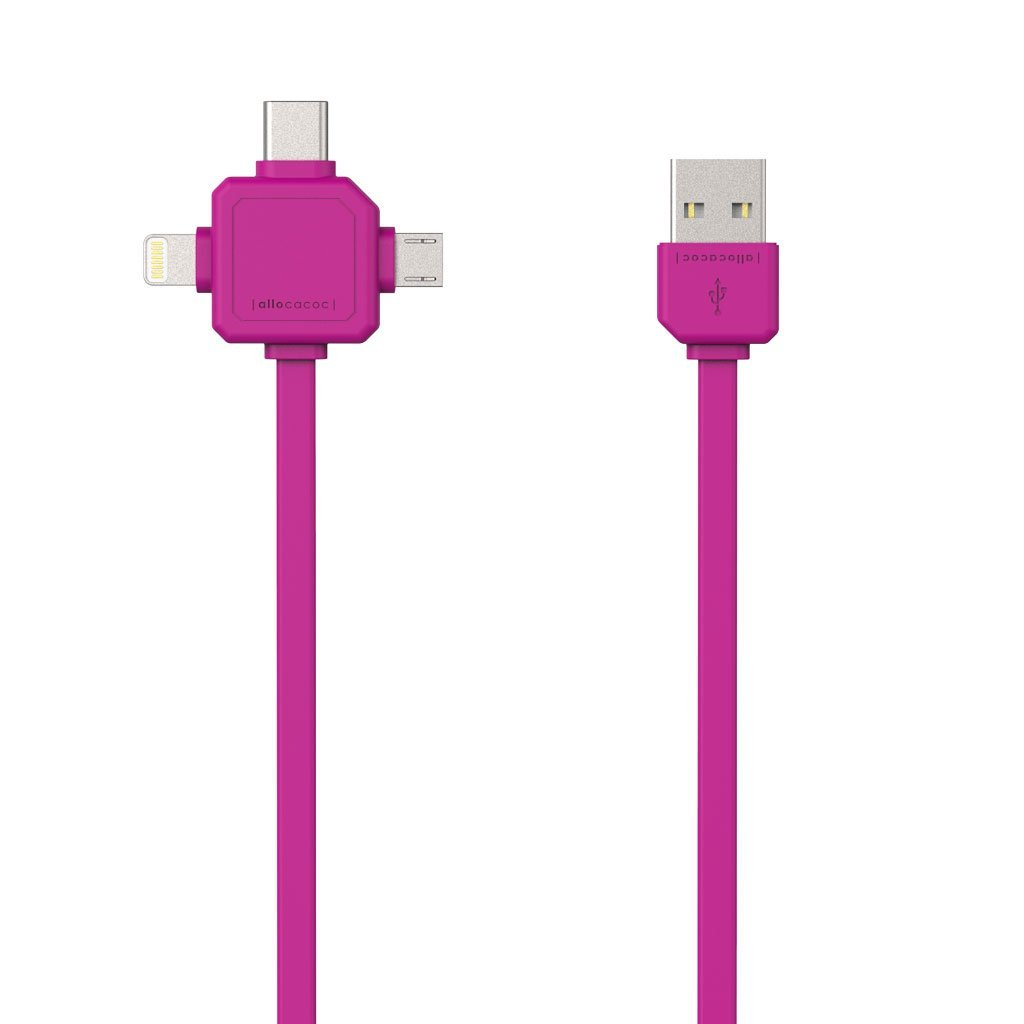 Allocacoc 9003PK USB Cable 3-in-1 (Usb-C/Micro/Lightning) - Pink (pc)