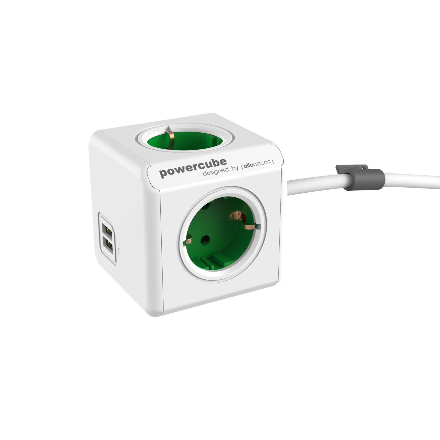 Allocacoc 7400GN PowerCube Extended USB UK - Green (pc)