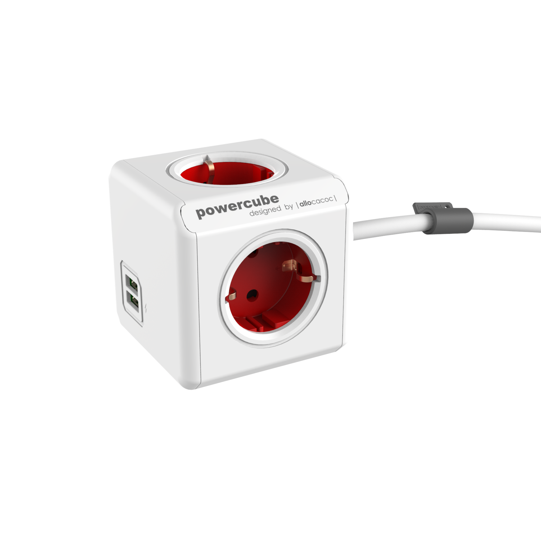 Allocacoc 7400RD PowerCube Extended USB UK - Red (pc)