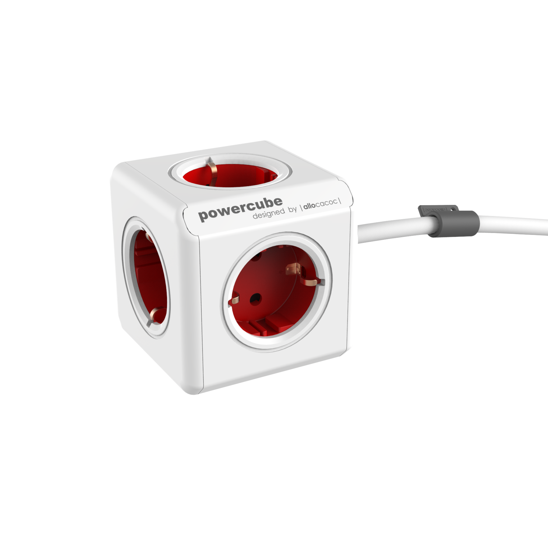 Allocacoc 7300 PowerCube Extended UK 3M Cable - Red (pc)