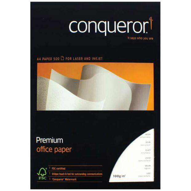 Conqueror Wove 100gsm A4 - Brilliant White (ream/500s)