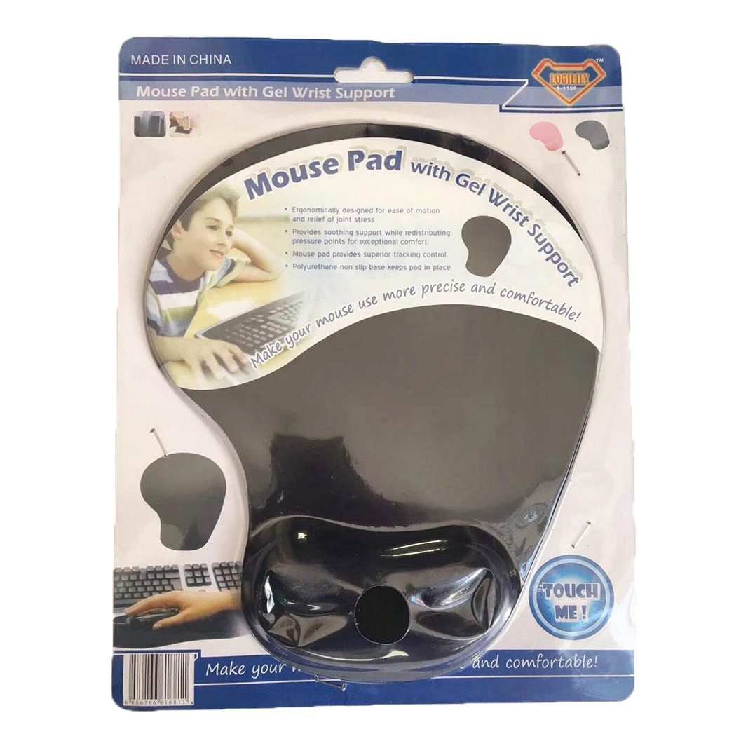 H-02 Mouse Pad with Gel Wrist Support - Black (pc)