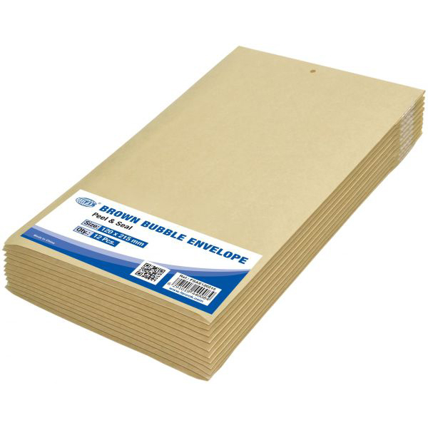 FIS Peel and Seal Bubble Envelopes 120 x 215mm FSAE120215 - Brown (pkt/12pcs)