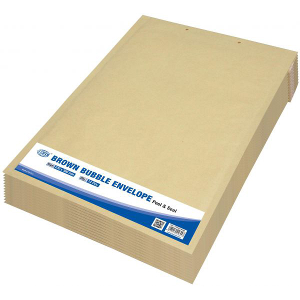 FIS Peel and Seal Bubble Envelopes 270 x 360mm FSAE270360 - Brown (pkt/12pcs)