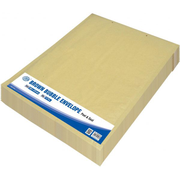 FIS Peel and Seal Bubble Envelopes 350 x 470mm FSAE350470N - Brown (pkt/12pcs)