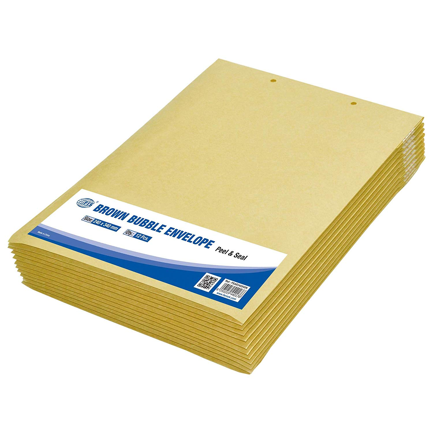 FIS Peel and Seal Bubble Envelopes 240 x 340mm  FSAE240340N - Brown (pkt/12pcs)