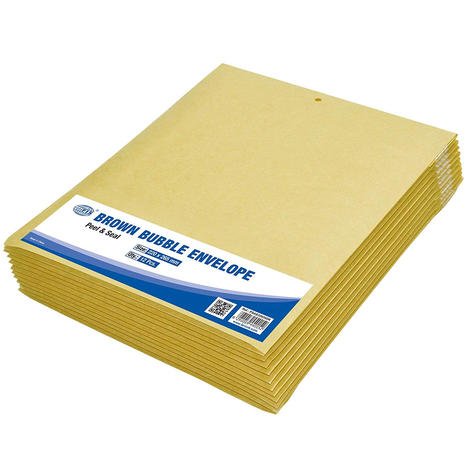 FIS Peel and Seal Bubble Envelopes 220 x 265mm FSAE220265N - Brown (pkt/12pcs)