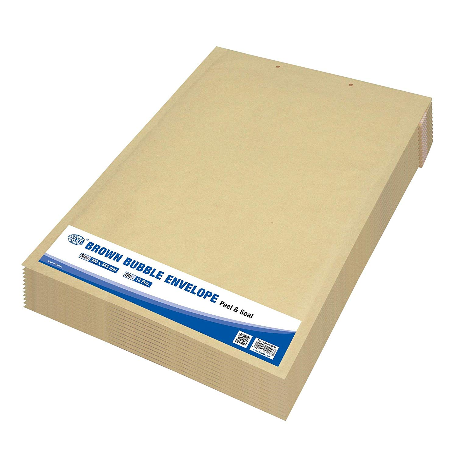 FIS Peel and Seal Bubble Envelopes 300 x 445mm FSAE300445 - Brown (pkt/12pcs)