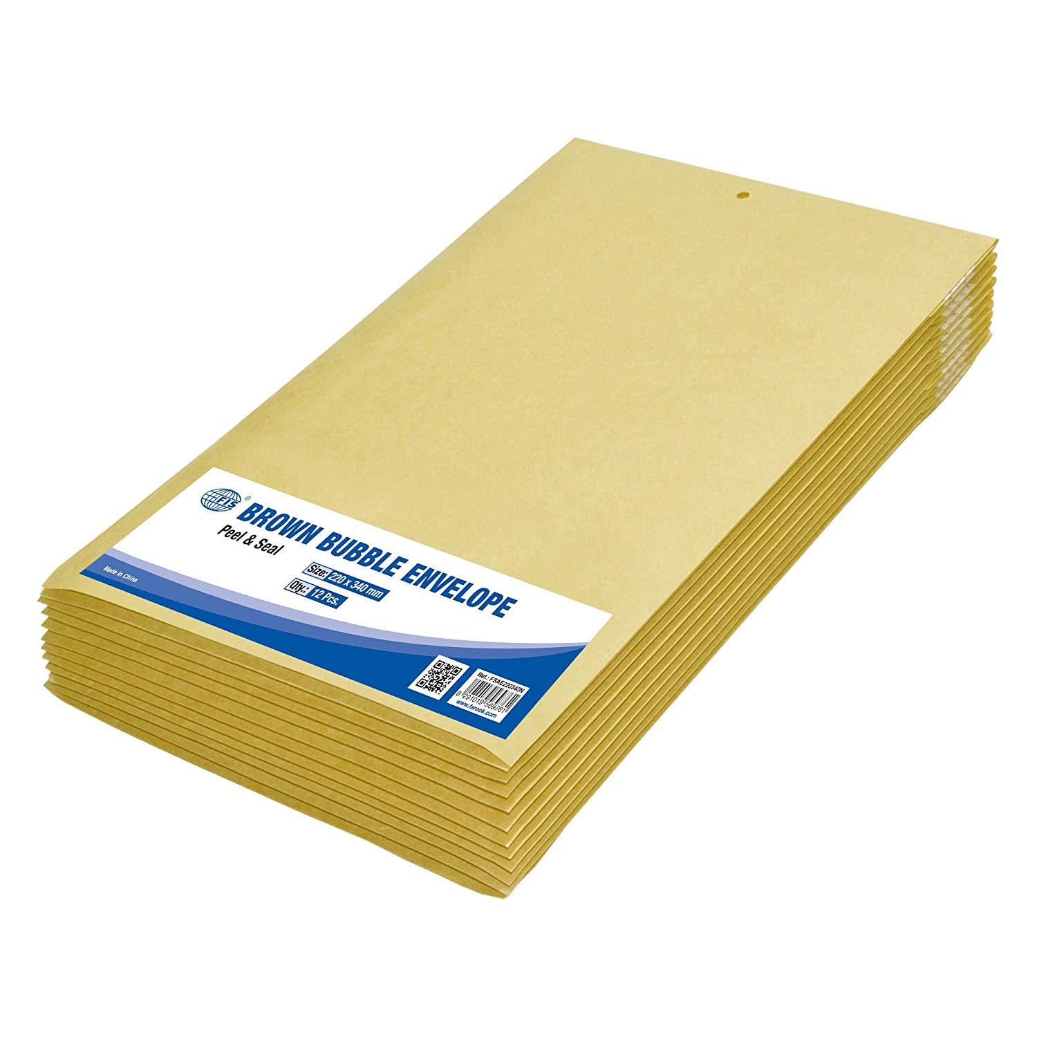 FIS Peel and Seal Bubble Envelopes 220 x 340mm FSAE220340N - Brown (pkt/12pcs)